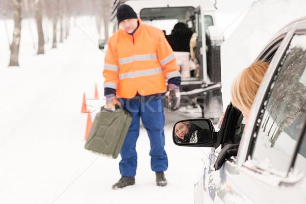 Woman broken car man gas can snow Stock photo © CandyboxPhoto