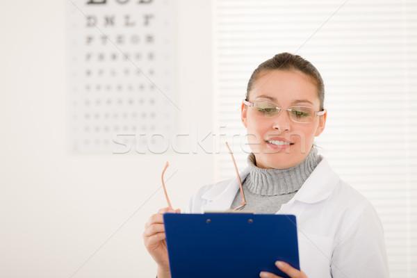 Optikus orvos nő szemüveg szem diagram Stock fotó © CandyboxPhoto