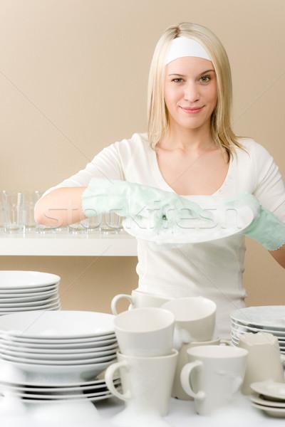 Foto stock: Moderno · cozinha · feliz · mulher · trabalhos · domésticos