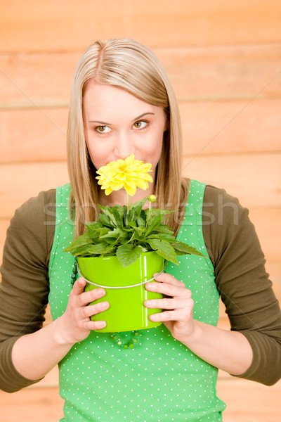 Portrait happy woman smell yellow spring flower Stock photo © CandyboxPhoto
