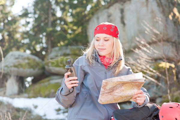 Active woman backpack search navigation map Stock photo © CandyboxPhoto