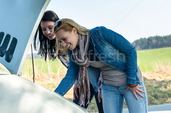 Car breakdown two women looking under hood Stock photo © CandyboxPhoto