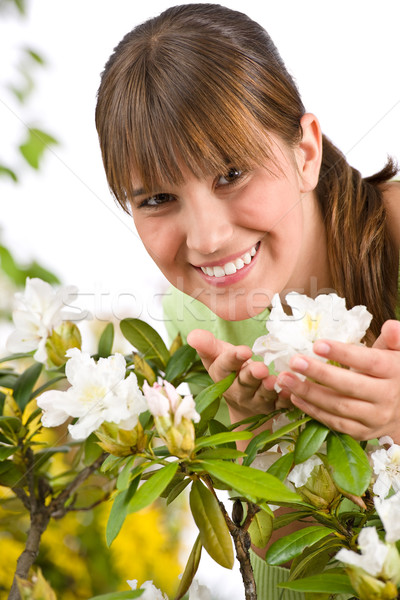 Gardening - Portrait of woman with Rhododendron flower  Stock photo © CandyboxPhoto