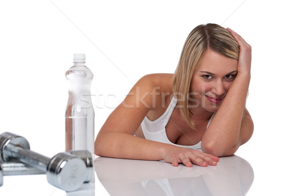 Fitness series - Blond woman with bottle of water and weights Stock photo © CandyboxPhoto