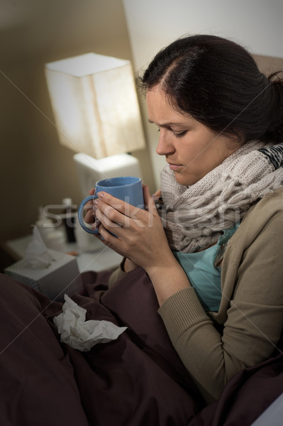 Sick woman with cold flu drinking tea Stock photo © CandyboxPhoto