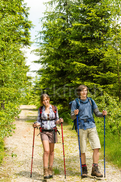 Caucasian teenagers hiking in forest nature Stock photo © CandyboxPhoto