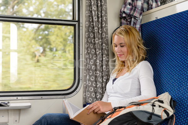 Woman reading book in train smiling commuter Stock photo © CandyboxPhoto