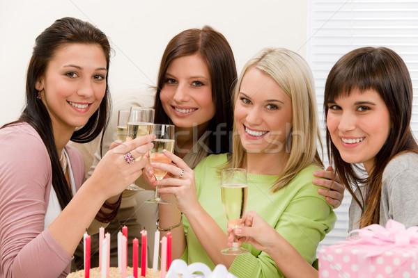 Photo stock: Fête · d'anniversaire · heureux · femme · Toast · champagne · présents