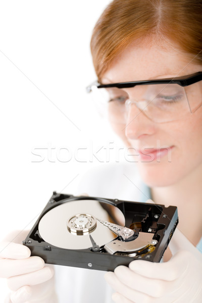 Female computer engineer - IT woman repair hard disc Stock photo © CandyboxPhoto