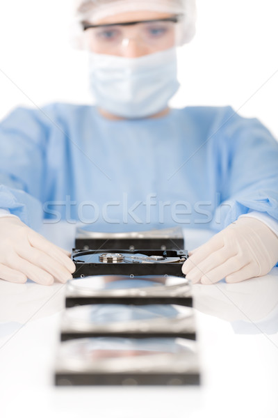Female computer engineer - woman repair hard disc, sterile Stock photo © CandyboxPhoto