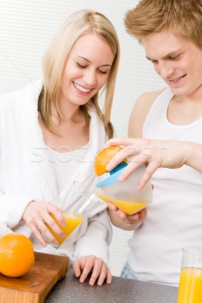 Breakfast happy couple make orange juice morning Stock photo © CandyboxPhoto