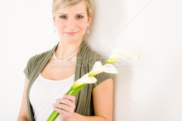Romantischen Frau halten Lilie Blume Reinheit Stock foto © CandyboxPhoto