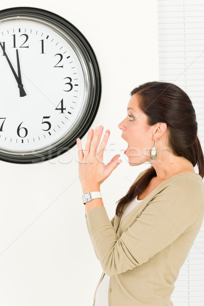 Surprised punctual businesswoman looking at clock Stock photo © CandyboxPhoto