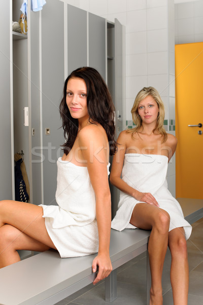 Locker room two relaxed women wrapped in towel Stock photo © CandyboxPhoto