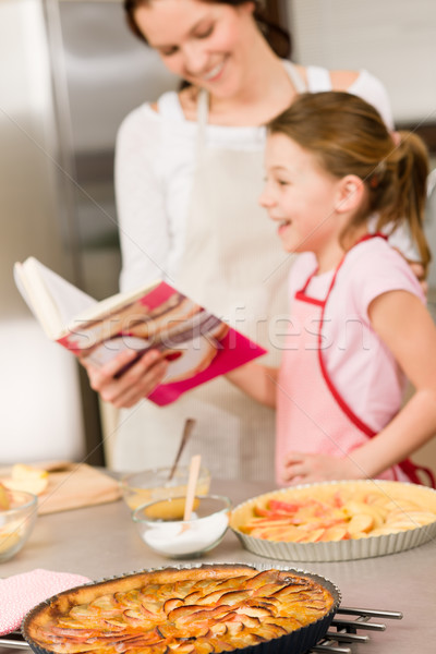 Madre hija mirar libro de cocina pastel de manzana Foto stock © CandyboxPhoto