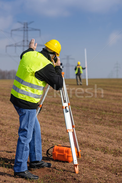 Geodesist measure land speak transmitter  Stock photo © CandyboxPhoto
