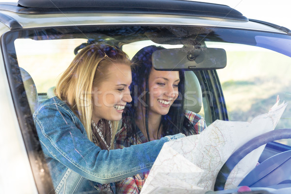 Road trip car lost women search map Stock photo © CandyboxPhoto