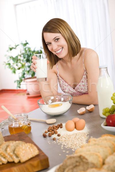 Stok fotoğraf: Mutlu · kadın · sağlıklı · malzemeler · organik