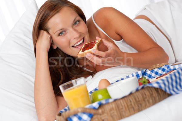 Genç kadın kahvaltı yatak kadın kahve Stok fotoğraf © CandyboxPhoto