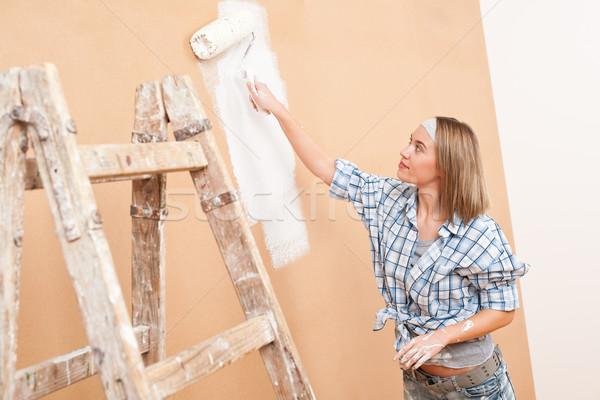 Foto stock: Melhoramento · da · casa · mulher · pintura · parede · pintar