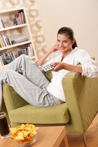 Students - Happy female teenager with potato chips  Stock photo © CandyboxPhoto