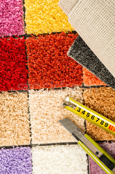 Carpet swatches, tape measure, boxcutter  Stock photo © CandyboxPhoto