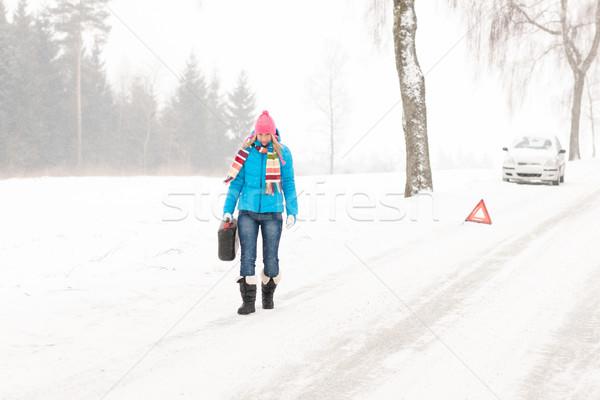 Kadın gaz can kar araba Stok fotoğraf © CandyboxPhoto
