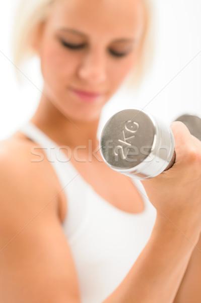 Vrouw oefening biceps blond Stockfoto © CandyboxPhoto
