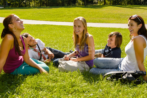 Teens sitting on lawn in park talking Stock photo © CandyboxPhoto