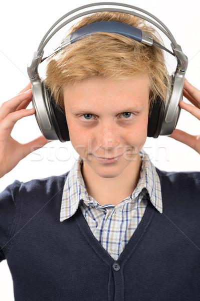 Tizenéves fiú zenét hallgat fejhallgató izolált zene háttér Stock fotó © CandyboxPhoto