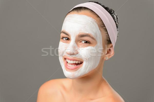 улыбаясь лице маске голый Плечи Сток-фото © CandyboxPhoto