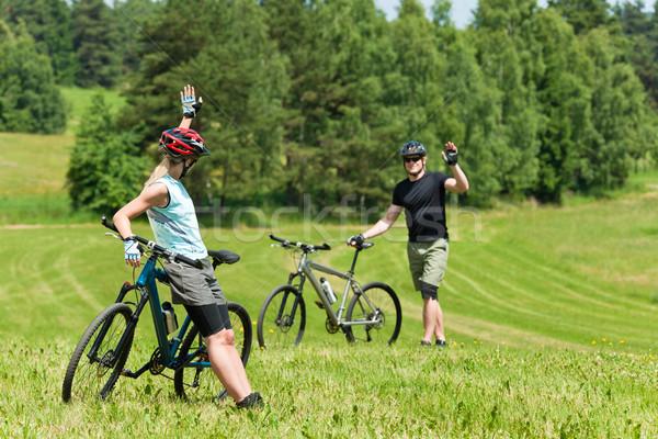 Spor dağ bisikleti çift tebrik mutlu Stok fotoğraf © CandyboxPhoto