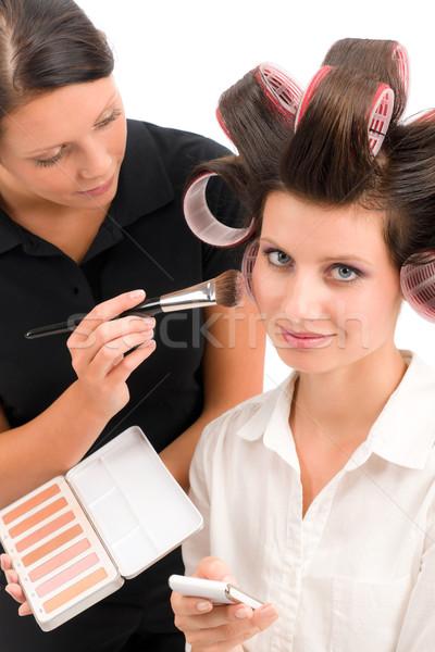 Make-up artist woman fashion model apply powder Stock photo © CandyboxPhoto