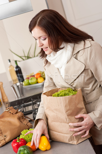 Young woman unpacking shopping bag in kitchen Stock photo © CandyboxPhoto