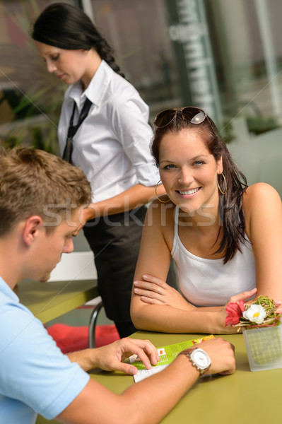 Couple at cafe man looking at menu Stock photo © CandyboxPhoto