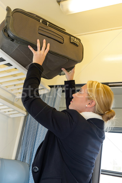 Woman putting her luggage on train grid Stock photo © CandyboxPhoto