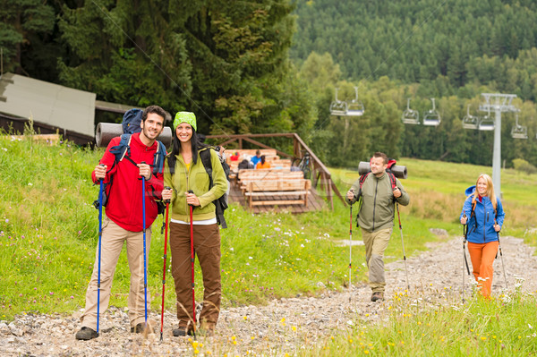 Hiker couples following path on mountain Stock photo © CandyboxPhoto