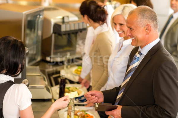 Cafeteria business man pay by credit card cashier Stock photo © CandyboxPhoto