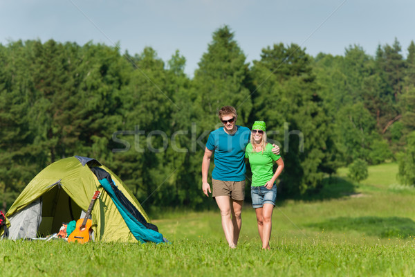 Young camping couple hugging in summer countryside Stock photo © CandyboxPhoto