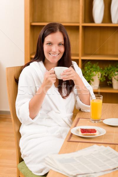 Breakfast at home happy woman with coffee Stock photo © CandyboxPhoto