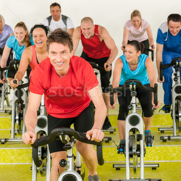 Fitness instructor with spinning class Stock photo © CandyboxPhoto
