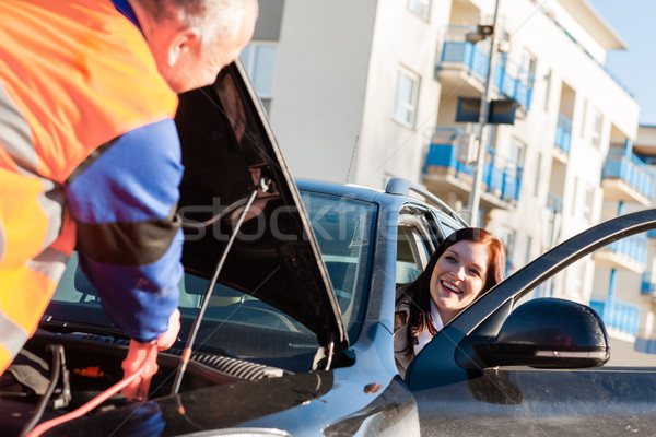 Autó nő törött jármű kábelek út Stock fotó © CandyboxPhoto