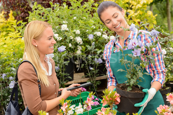Garden centre woman worker selling potted plant Stock photo © CandyboxPhoto