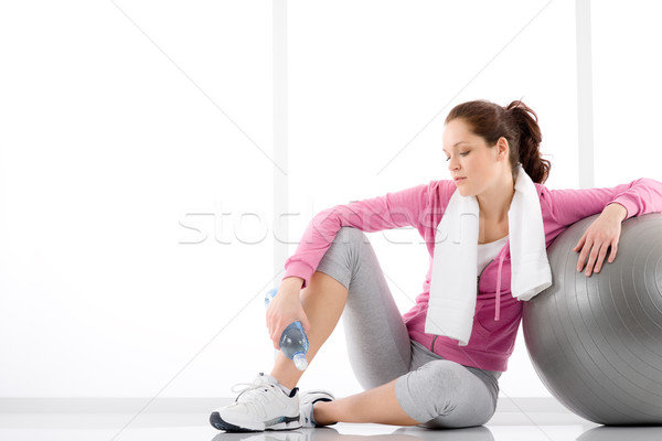 Fitness woman relax water bottle exercise ball Stock photo © CandyboxPhoto
