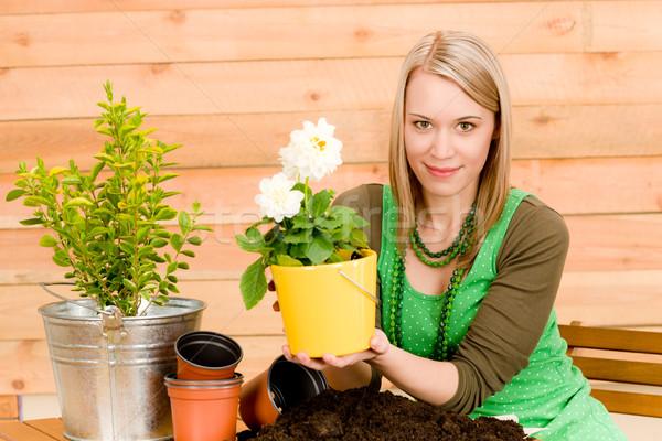 Stockfoto: Tuinieren · vrouw · lentebloem · terras · bloem