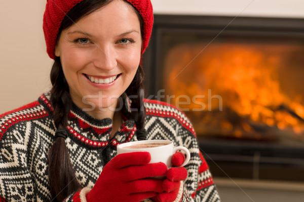 Kandalló tél karácsony nő ital otthon Stock fotó © CandyboxPhoto