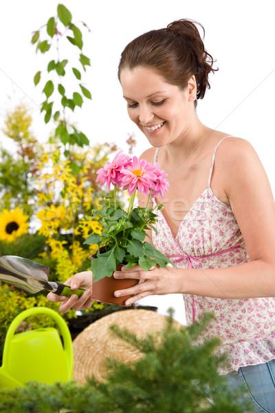 Gardening - woman holding flower pot and shovel Stock photo © CandyboxPhoto