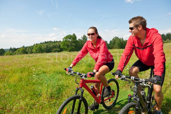 верховая езда горных велосипедов весны луговой природы Сток-фото © CandyboxPhoto