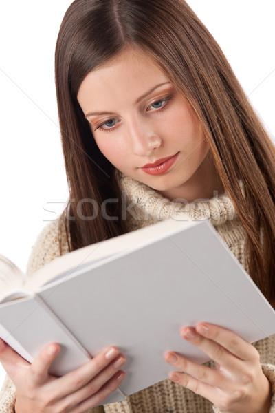 Retrato jóvenes feliz mujer libro Foto stock © CandyboxPhoto