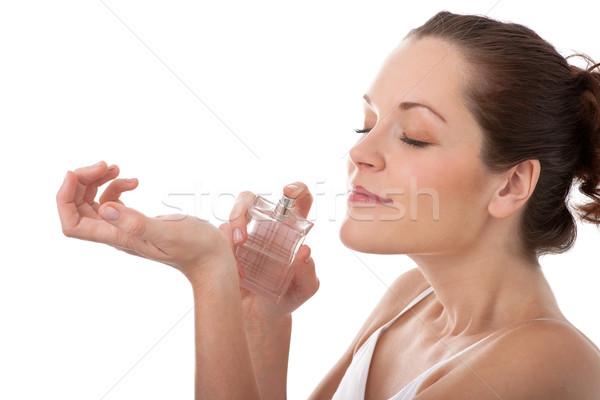 Ciało opieki młoda kobieta perfum nadgarstek Zdjęcia stock © CandyboxPhoto